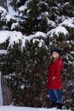 Frau im Winter-Schnee Stockbilder