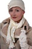 Frau im Winterpelz Stockfoto