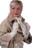 Frau im Winterpelz Lizenzfreies Stockfoto