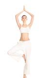 Frau im Yoga Baum-werfen auf Stockbilder