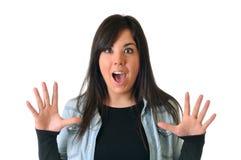 Frau ist überrascht Lizenzfreie Stockbilder