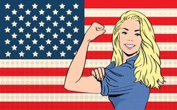 Frau können wir es tun Flaggen-Knall Art Retro Style Vereinigter Staaten Amerika Lizenzfreies Stockbild