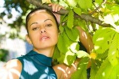 Frau am Kastaniebaum Stockfotografie
