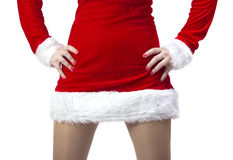 Frau kleidete in Weihnachtsmann an Lizenzfreie Stockfotografie