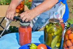 Frau konserviert Gemüse Lizenzfreies Stockbild