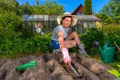 Frau löst den Boden für das Pflanzen von Samen, unter Verwendung des kleinen Gartenra Stockfotografie