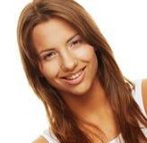 Frau lokalisiert auf Weiß Stockfotos