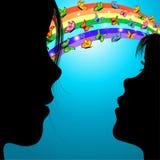 Frau, Mädchen u. Basisrecheneinheiten über dem Regenbogen Stockbild