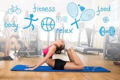 Frau macht Sportübung Stockbild