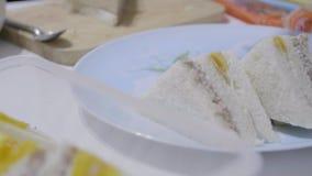 Frau machte Sandwiche und das Setzen sie in die Platte stock video