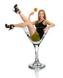 Frau in Martini-Glas Lizenzfreie Stockbilder