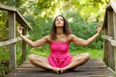 Frau medition in der Natur Lizenzfreie Stockfotografie