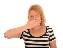 Frau mit überreichen Mund Stockfoto
