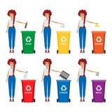 Frau mit Abfallillustration Halten Sie sauber und Abfall Konzept sortierend lizenzfreie abbildung