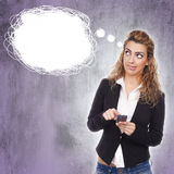 Frau mit aktiven Ausdrücken stockfotos