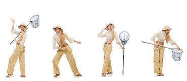 Frau mit anziehendem Netz auf Weiß Stockfotografie