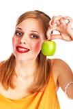 Frau mit Apfel Lizenzfreies Stockfoto