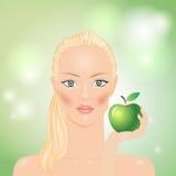 Frau mit Apfel Stockfotos