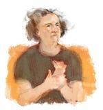 Frau mit Arthritis-Schmerz-Reibung übergibt Illustrations-Vignette Lizenzfreie Stockfotografie