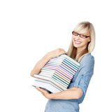 Frau mit Büchern Stockfotografie