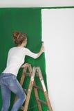 Frau mit Bürste auf Leiter Stockfoto