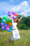 Frau mit Ballonen Lizenzfreies Stockfoto
