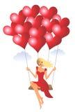 Frau mit Ballonen Stockfotos