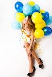 Frau mit Ballonen Lizenzfreies Stockbild