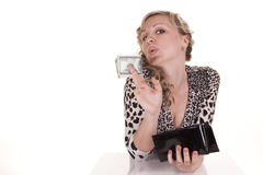 Frau mit Bargeld Lizenzfreie Stockfotos
