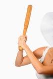 Frau mit Baseballschläger Lizenzfreie Stockfotos