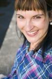 Frau mit überprüftem Muster Lizenzfreie Stockbilder