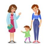 Frau mit Besuchsdoktor, Mutter und Tochter des kleinen Mädchens Stockfotos