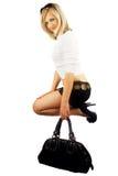 Frau mit Beutel. Lizenzfreies Stockfoto