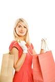 Frau mit Beutel Lizenzfreies Stockfoto