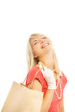 Frau mit Beutel Stockfotos