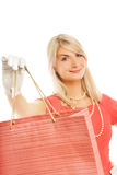 Frau mit Beutel Lizenzfreie Stockfotografie
