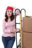 Frau mit beweglichen Kästen Lizenzfreies Stockfoto