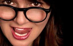 Frau mit Bifokalbrille lizenzfreie stockfotos