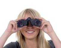 Frau mit Binokeln Lizenzfreie Stockfotografie
