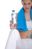Frau mit blauem Eignungtuch Lizenzfreie Stockbilder