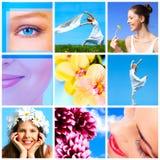 Frau mit Blume Stockfotos