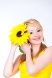 Frau mit Blume Stockfoto