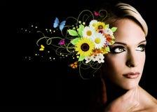 Frau mit Blumen vektor abbildung