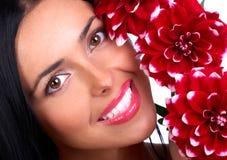 Frau mit Blumen stockfoto