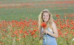 Frau mit Blumen Stockbilder