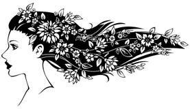 Frau mit Blumen im Haar vektor abbildung