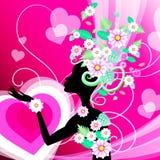Frau mit Blumen-Show-Frauen-Dame And Ladys Lizenzfreie Stockfotos