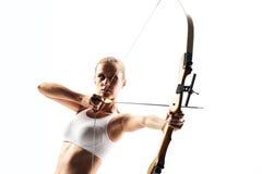 Frau mit Bogen Stockfoto