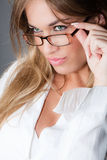 Frau mit Brillen Stockfotografie