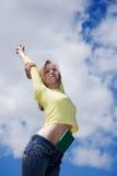 Frau mit Buch Lizenzfreie Stockfotos